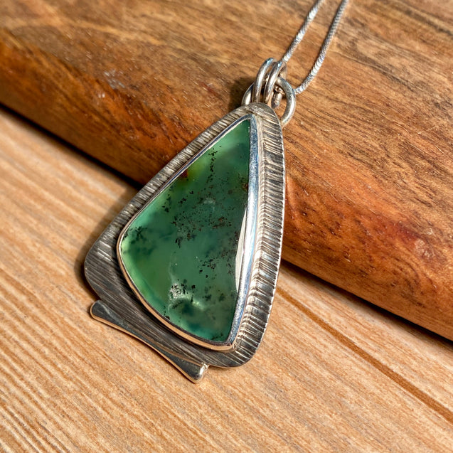 Chrysoprase Pendant Sterling Silver - kaiasparksdesigns