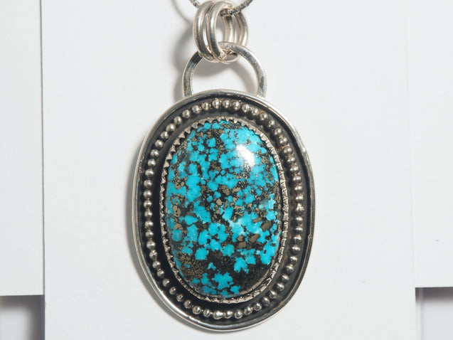 Persian Turquoise with Pyrite Pendant Sterling Silver - kaiasparksdesigns