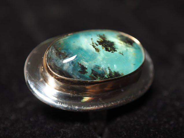 18k Gold Peruvian Blue Opal Ring - kaiasparksdesigns