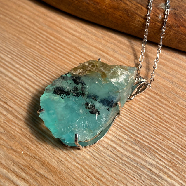 Raw Peruvian Blue Opal Pendant Sterling Silver - kaiasparksdesigns
