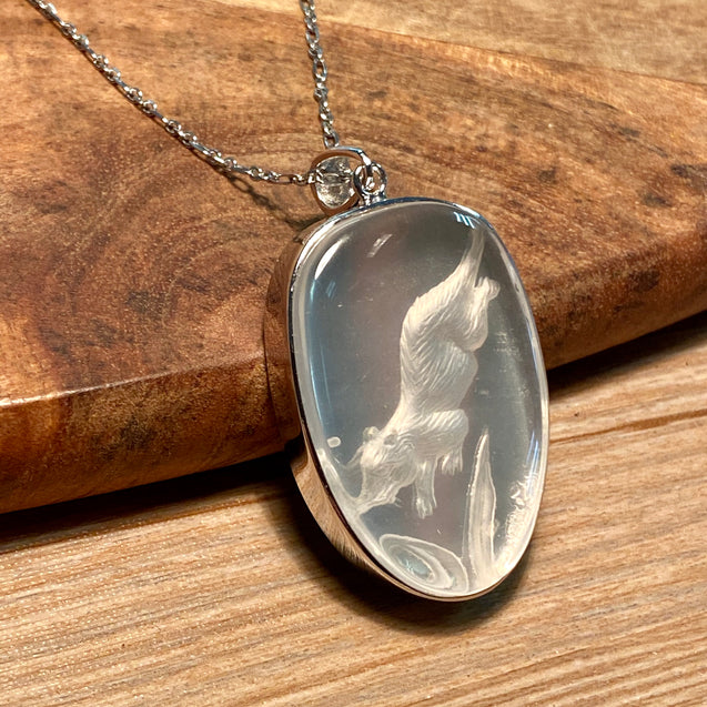 Crystal Beaver Carving Pendant Sterling Silver - kaiasparksdesigns