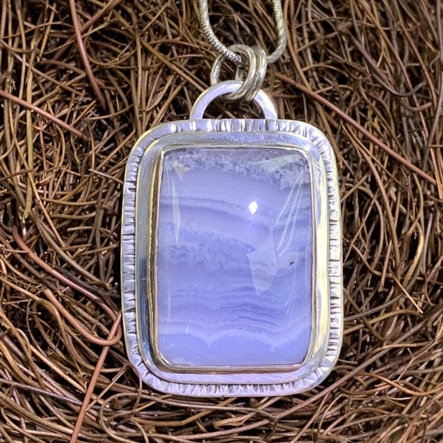 Blue Lace Agate Pendant Sterling Silver - kaiasparksdesigns