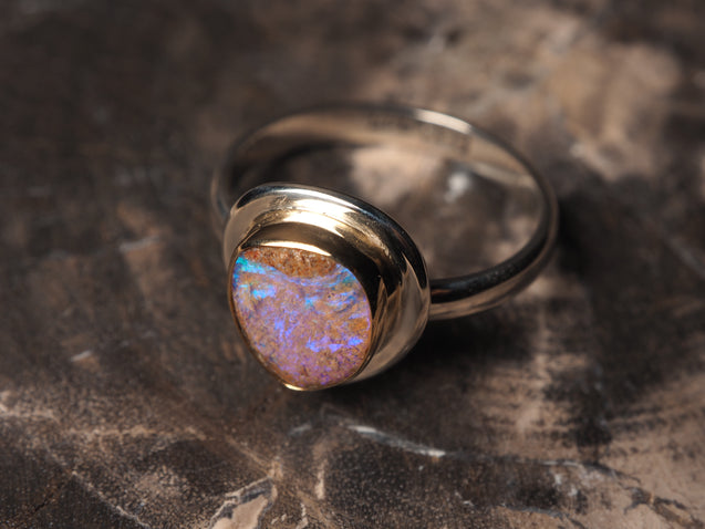 Australian Crystal Pipe Opal 18k gold 925 silver ring size 7.5 size 7.75 R0463 - kaiasparksdesigns