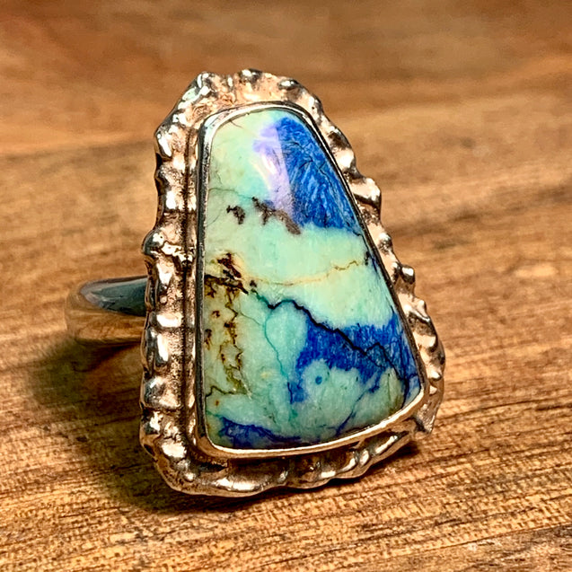 Crystalised Azurite Malachite Silica Ring - kaiasparksdesigns