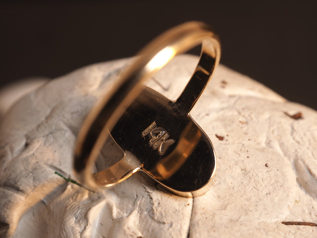 14k Solid Gold Crystal Pipe Opal Ring - kaiasparksdesigns