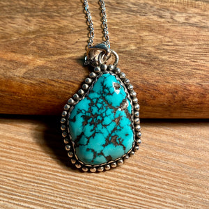 Tibetan Turquoise Necklace, Natural Turquoise Nugget Pendant, Genuine Turquoise Jewelry, Sterling Silver, Navajo Style Unisex Gifts - kaiasparksdesigns