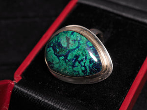 Peruvian azurite malachite 18k gold sterling silver ring size 9 R0361 - kaiasparksdesigns