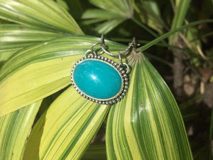 Gem Blue Brazilian Amazonite oval 925 sterling silver pendant P0101 - kaiasparksdesigns