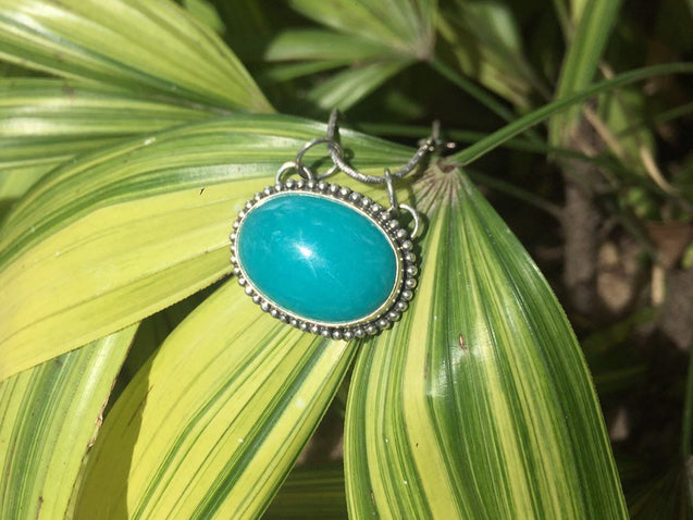 African Amazonite Pendant Necklace, 925 Sterling Silver, Statement Vintage Jewelry - kaiasparksdesigns