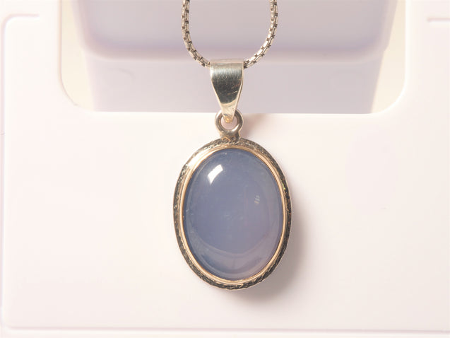 Blue Chalcedony Pendant, 14k Solid Gold Bezel, 925 Sterling Silver - kaiasparksdesigns