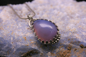 Purple Lilac Chalcedony 925 Sterling Silver Pendant P0155 - kaiasparksdesigns