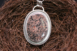 Yooperlite oval big size brown 925 Sterling Silver Pendant lava P0148 - kaiasparksdesigns