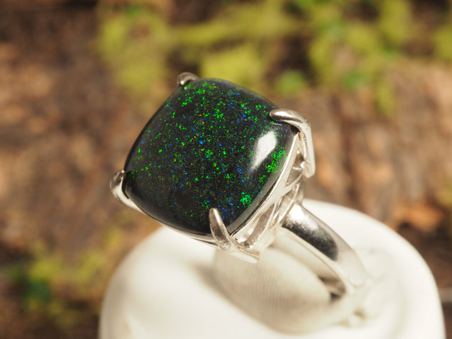 Andamooka Black Opal Ring - kaiasparksdesigns