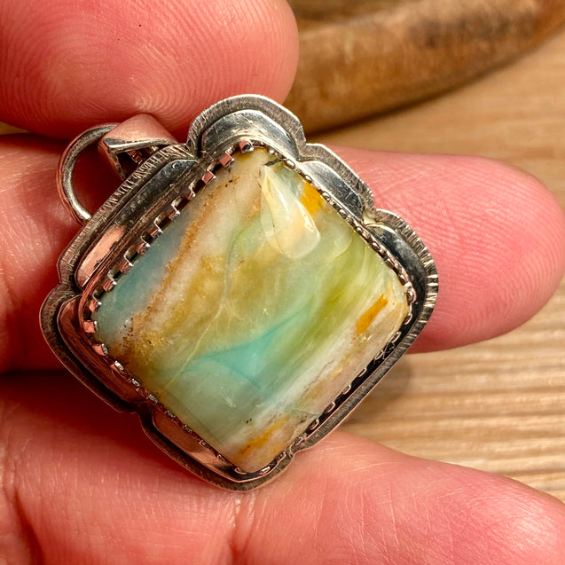Petrified Opalized Wood Pendant - kaiasparksdesigns