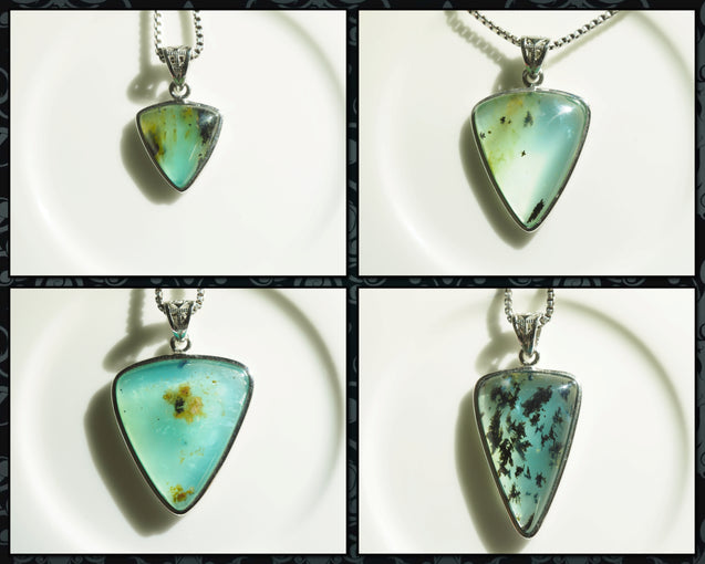 Peruvian Blue Opal Pendant Necklace, Andean Opal Pendant, 925 Sterling Silver