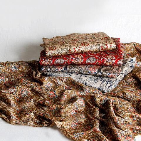 Pedana Kalamkari Hand Block Printed Pure Cotton & Chanderi Silk Fabrics