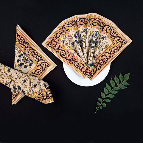 Original Pedana Kalamkari Block Prints Napkins, Table Mats & Runners by Pitchuka Srinivas