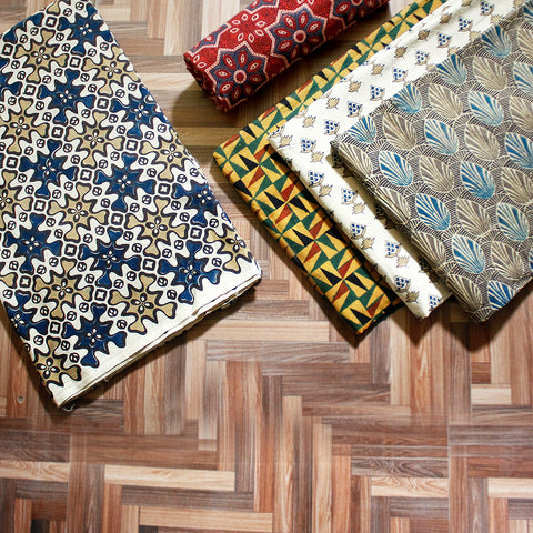 New! Ajrakh Block Print Natural Dyed Cotton Fabrics