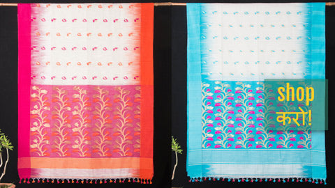 Bengal Handloom Silk & Cotton Sarees with Jamdani Weave & Kantha Work by Rabindranath Biswas