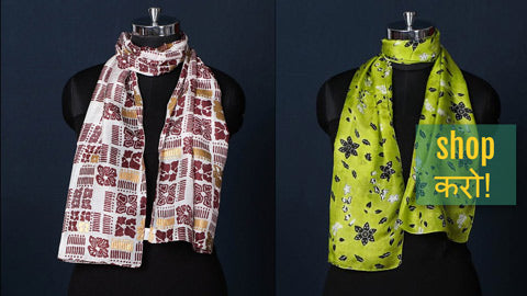 Farrukhabad Paisley Woven & Screen Printed Silk Stoles