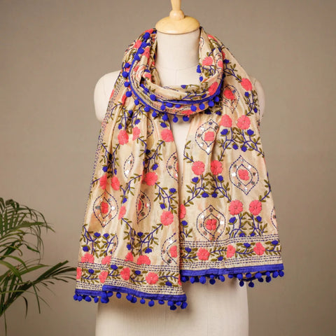 Chanderi Silk Work Stoles