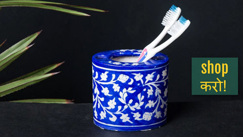 Original Blue Pottery Ceramic Soap Dispensers, Toothpaste Stands & Soap Dishes by Anil Doraya