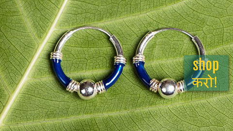 Classical Enameled Sterling Silver Hoop Bali Earrings