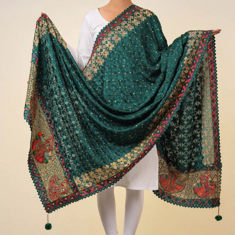 Hand Embroidered Phulkari Dupattas from Punjab