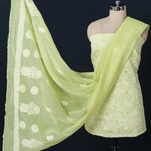 Lucknow Chikankari Hand Embroidered Suit Materials, Dupattas & Sarees in Cotton & Georgette