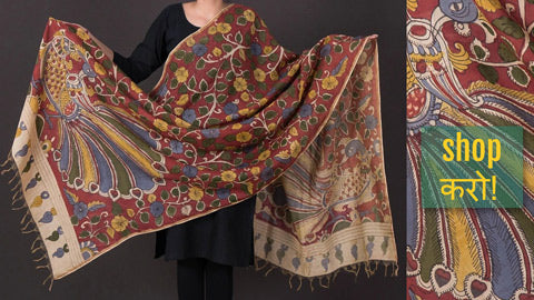 Handpainted Srikalahasti Kalamkari Dupattas in Chanderi Silk, Jute Silk & Cotton by Padmaja