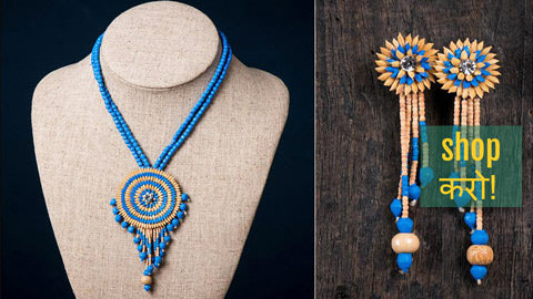 Handcrafted Rice Paddy Jewelry by Putul Das Mitra From Bengal - Necklace Set, Necklaces & Earrings