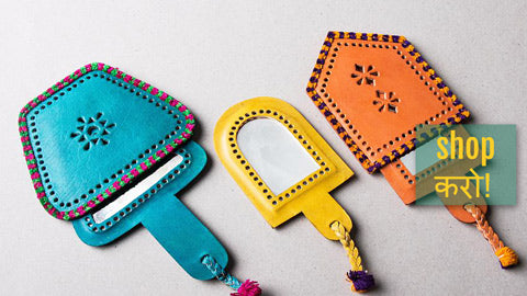 Handcrafted Kutch Leather Hand Mirrors with Pouch