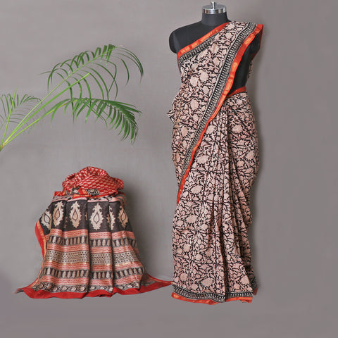 Bagru Dabu Block Printed Silk & Cotton Sarees