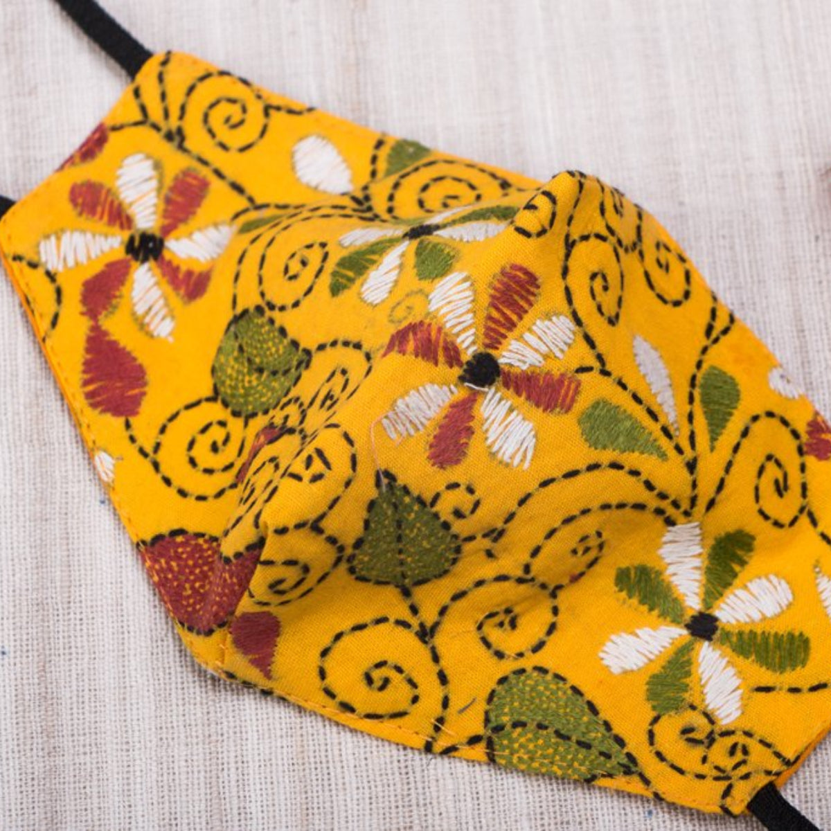 Kantha Hand Embroidered Cotton Snug Fit Face Covers