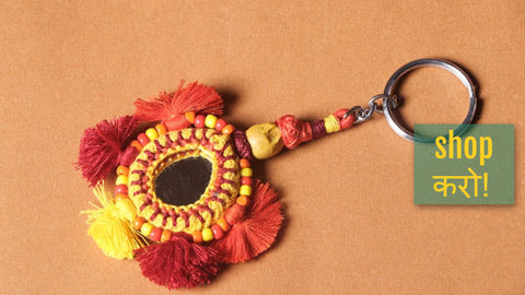 Handmade Patwa Mirror & Threadwork Keychains by Kailash Patwa