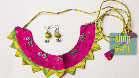 Silk Fabric Sejal Bead Work & German Silver Necklaces