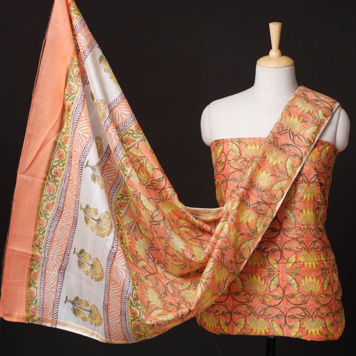Sanganeri Block Printed Silk & Cotton Suit Material Sets of Rajasthan