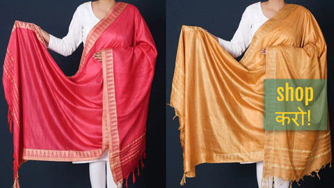 Pure Mulberry Silk Handloom Dupattas by Ruisa from West Bengal