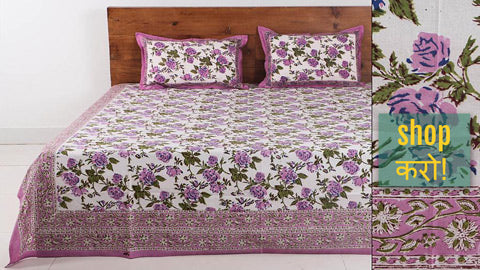 Sanganeri & Bagru Hand Block Printed Cotton Bed Covers by Uttam Negar