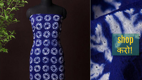 Shibori Tie-Dye Kurta Materials in Mul Cotton, Chanderi Silk & Tussar Cotton