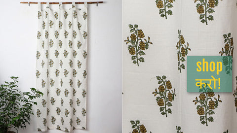 Sanganeri Handblock Printed Cotton Window & Door Curtains