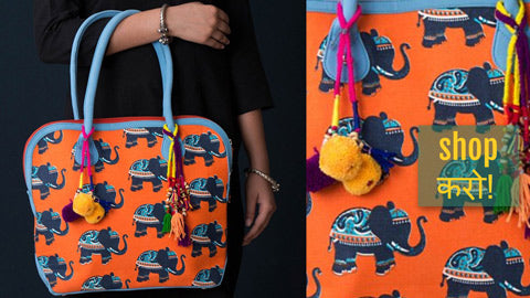 Jaipur Multicolour Printed Clutches, Handbags & Handcrafted Kutchhi Jewelry