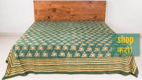 Block Art Prints Natural Dyed Cotton Bed Covers by Bindaas Unlimited