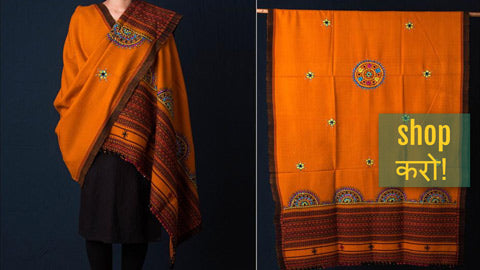 Traditional Handwoven Kutchhi Mirror Work Embroidered Woolen Shawls & Stoles