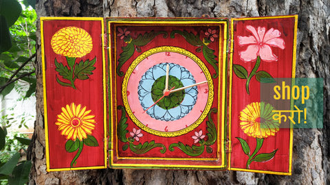 Exclusive! Kavad Katha Wooden Handpainted Wall Clocks by Dwarika Prasad Jangid