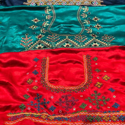 Traditional Kutchi Hand Embroidery Mashru Silk Blouse Pieces