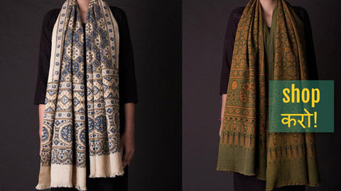 Ajrakh Woolen Fabrics, Shawls & Stoles Hand Block Printed & Natural Dyed from Kutch