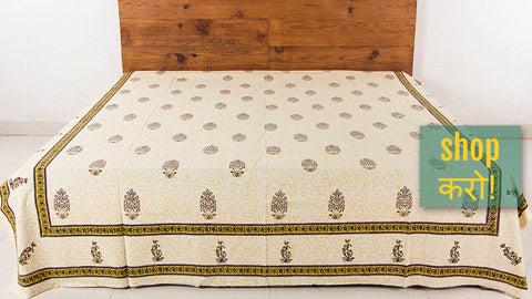 New Stock ! Sanganeri Block Print Cotton Double & Single Bed Covers