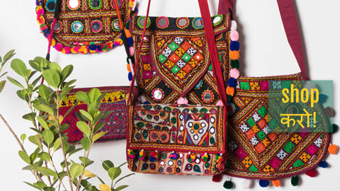 Kutchi Embroidery Mirror Work Sling & Shoulder Bags