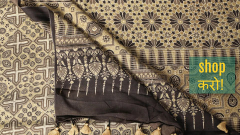 Special Ajrakh Hand Block Printed Modal Silk Natural Dyed Sarees
